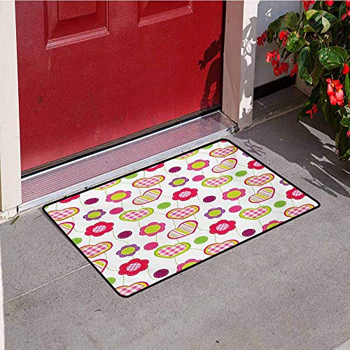 (Jinguizi Flower Commercial Grade Entrance mat Flowers Stitches Checked Lines Stripes Heart Round Shapes Craft Patchwork Art for entrances garages patios W23.6 x L35.4 Inch Lime Purple Red)