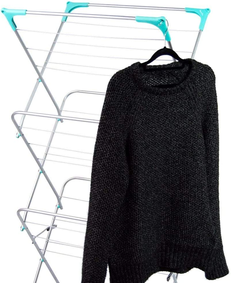 Clothes Airer 139x61x44 approx Highlands 3 Tier Space Indoor and Outdoor Laundry Horse Drying Rack Metal Grey 15 m Silver