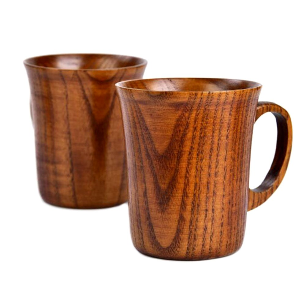 NAOAO Solid Jujube Mug Wooden Coffee Beer Mugs Wood Cup Handmade Tea Cup With Handle Set of 2 (9 cm 10 cm/3.5 inch 3.9 inch)