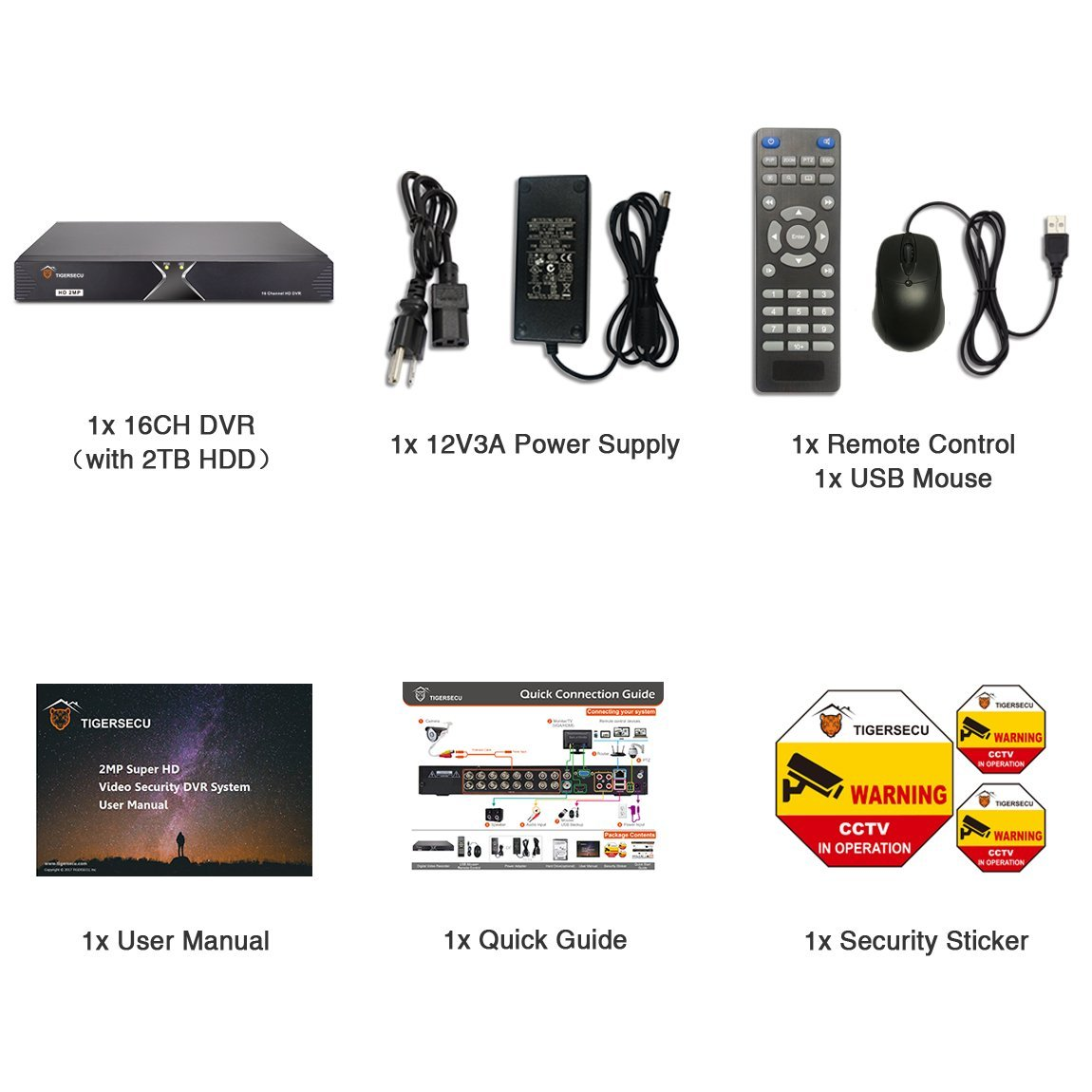 Amazon.com : TIGERSECU Super HD 1080P 16-Channel Hybrid 4-in-1 DVR Video  Security Recording System with 2TB Hard Drive (Cameras Not Included) :  Camera & ...