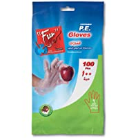 Fun® Indispensable Plastic Disposable HDPE Gloves for Food and Kitchen, Clear and Embossed, Free Size, Pack of 100
