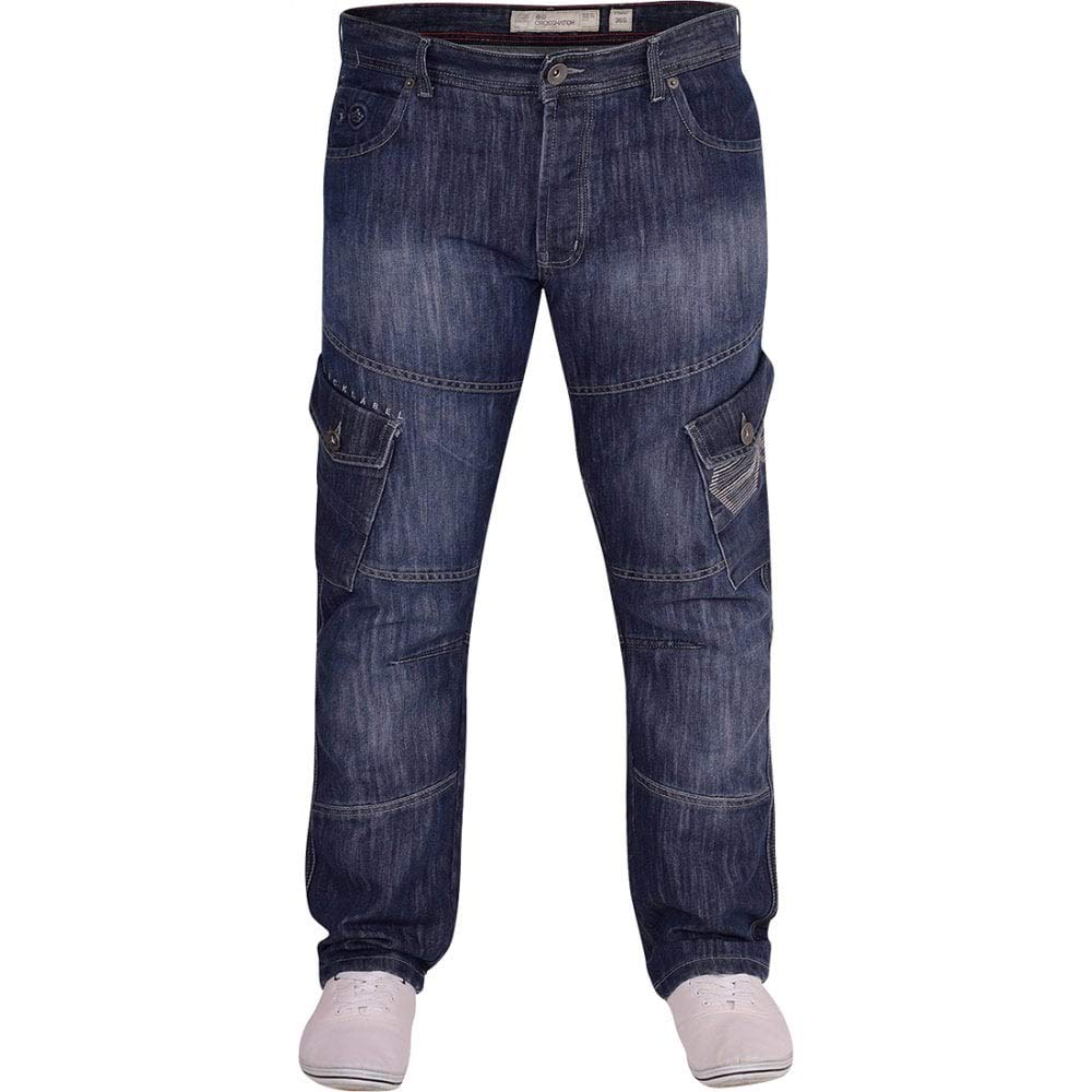 Crosshatch Mens Designer Heavy Duty Multi Pocket Cargo Combat Denim Jeans