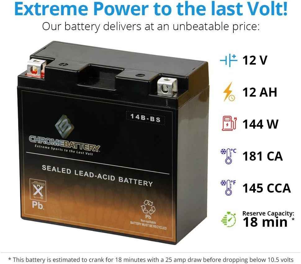 YT14B-BS AGM Motorcycle Battery for Yamaha XV17AT Road Star Silverado 2008-2014