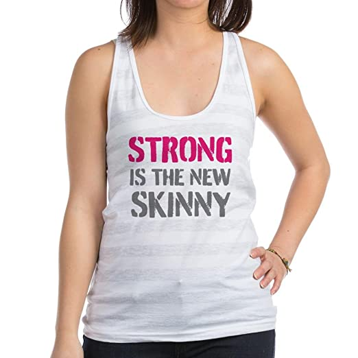 a5c540804f18a Image Unavailable. Image not available for. Color  CafePress - Strong is new  Skinny Racerback Tank Top - Womens ...