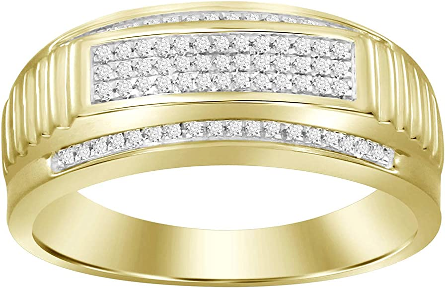 Eternal Bliss 1//5 cttw Natural Round Diamond Mens Wedding Band Ring in Solid 10K Yellow Gold