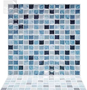 Tic Tac Tiles Peel and Stick Self Adhesive Removable Stick On Kitchen Backsplash Bathroom 3D Wall Sticker Wallpaper Tiles in Square Designs (Maple & Sea) (5, Sea)