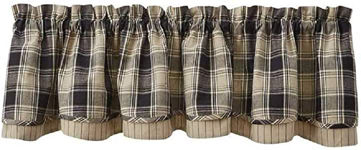Country Soapstone Layered Lined Valance 72X16 Black Brown Beige Ivory Plaid