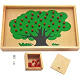 MagiDeal Wooden Montessori Mathematics Material Apple Tree Counting Apples Game Kids Early Learning Educational Toy