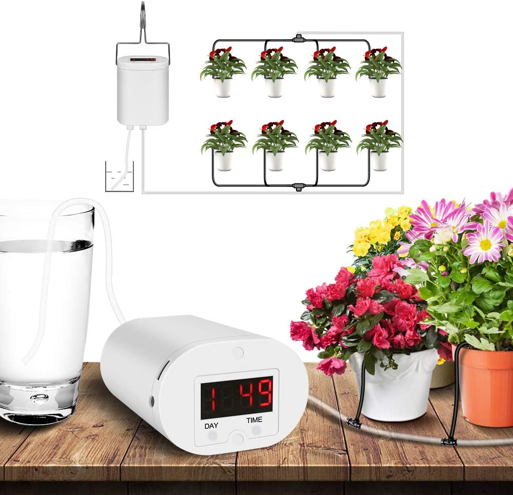PDGROW Automatic Watering System Drip Irrigation Kit Rechargeable 9 Day Programmable Timer, USB Powered Houseplants Auto Self Indoor Plant Watering Devices for 8 Potted Outdoor Plants