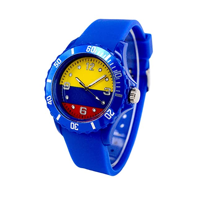 Reloj con la bandera de Colombia con pulsera de Silicona