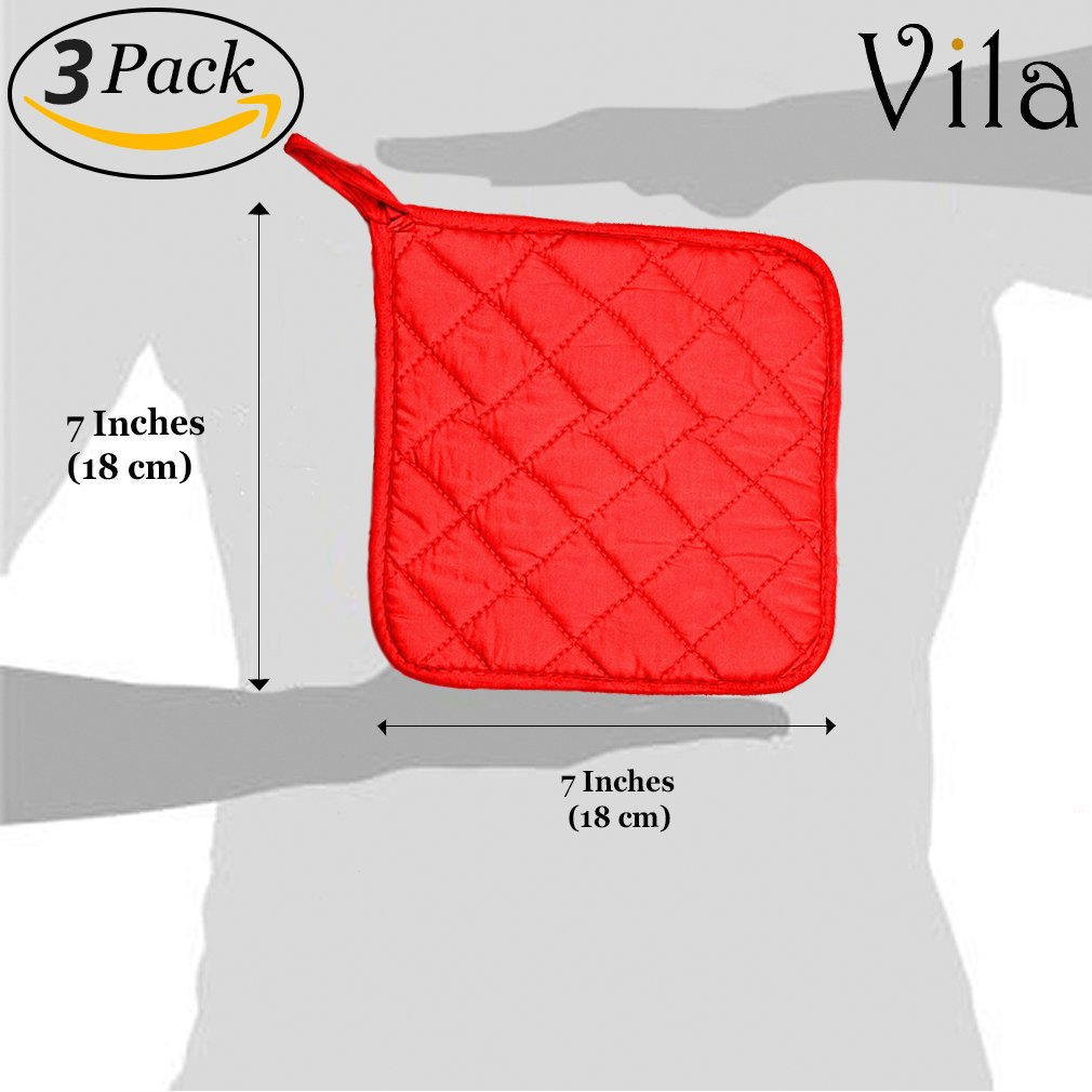 3-pcs Potholder by Vila -- Protects your hands from kitchen burns - Heat Resistant - Durable and Easy To Store