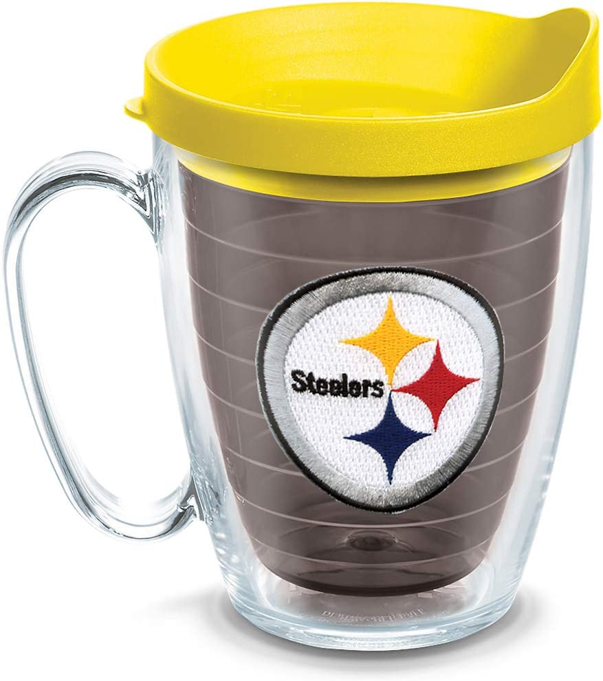 Tervis NFL Pittsburgh Steelers Primary Logo Tumbler with Emblem and Yellow Lid 16oz Mug, Quartz