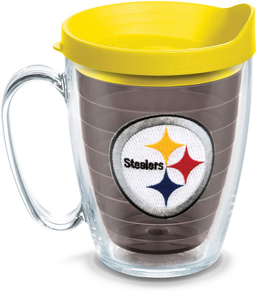 Tervis 1084897 NFL Pittsburgh Steelers Primary Logo Tumbler with Emblem and Yellow Lid 16oz Mug Quartz