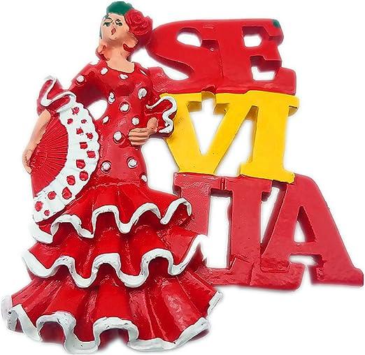 Hqiyaols Souvenir Mujer Baile Flamenco Sevilla España Refrigerador ...