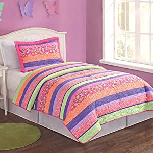 Pem America Stripes and Flowers Twin Quilt with Sham