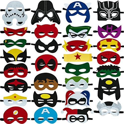 Totteri 30pcs Superhero Masks for Kids Christmas Costumes,Felt Mask Superheroes Birthday Party Favor Cosplay Toy for Boys and Girls