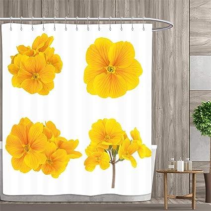 Amazon Anniutwo Yellow Flower Shower Curtains Fabric Gardening