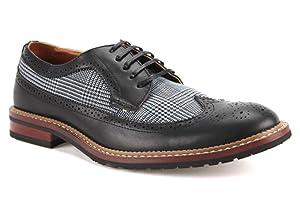 Ferro Aldo Men's 19312A Wing Tip Lace Up Vintage Oxfords Dress Shoes, Black, 10.5