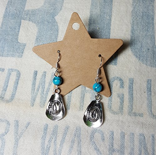 [Western Cowboy Hat Earrings with Turquoise Accent] (Cowgirl Hat Earrings)