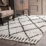 nuLOOM 200SPRE14A-508 Hand-Knotted Moroccan Trellis Natural Shag Wool Rug (5-Feet X 8-Feet)