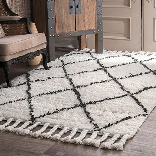 nuLOOM Natural Hand Knotted Fez Shag Area Rug, 3' x 5' (Natural Shag)