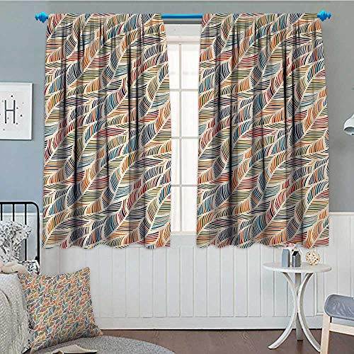 Boho Thermal Insulating Blackout Curtain Abstract Feather Wave Pattern with Retro Look and Artistic Colorful Short Lines Curves Patterned Drape For Glass Door 55