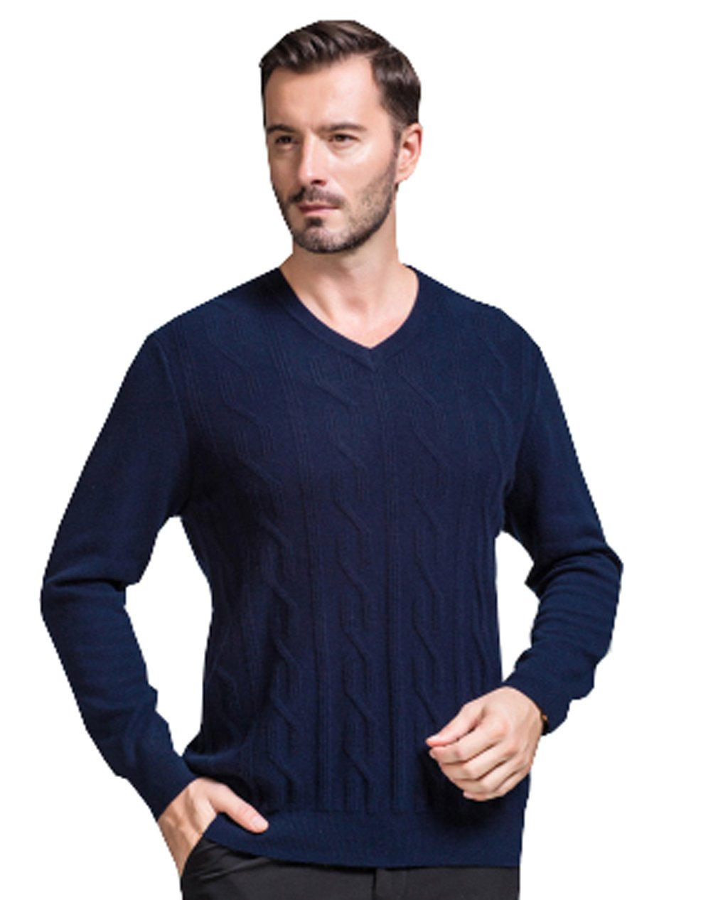 METERDE Men's Classic Cashmere Twist Knit Sweater in V Neck Deep Blue M