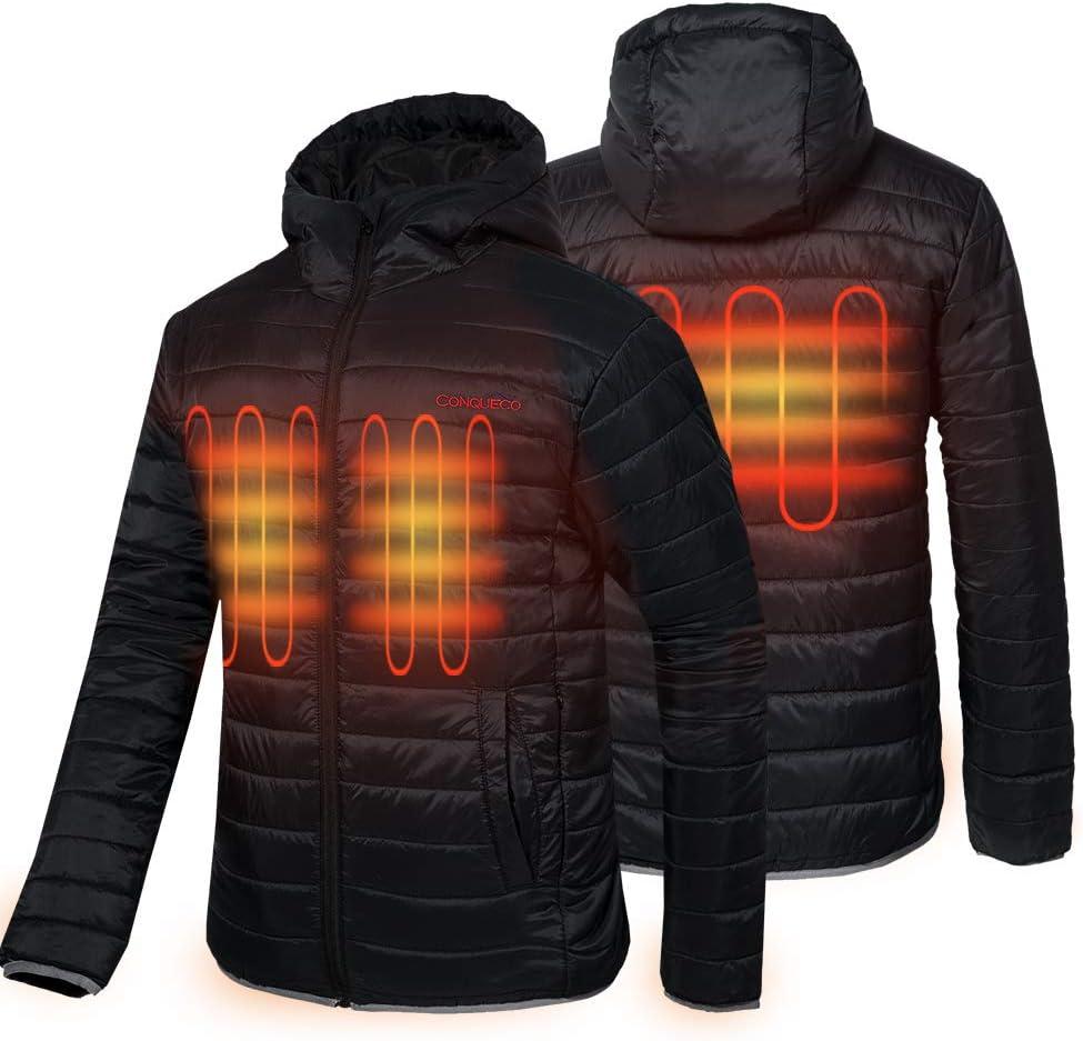 CONQUECO Veste Chauffante Electrique Intelligent Hiver Veste Batterie Thermique Manteau pour Activit/és de Plein Air Chasse Randonn/ée en Plein Air Ski P/êche Camping Apte /à Homme en Hiver