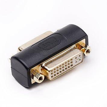 DVI Coupler Female to Female Gender Changer Bulkhead Mount Adapter Beige Nickel Plated 5 Pack