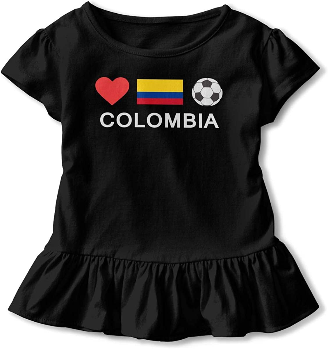 Zi7J9q-0 Short-Sleeve Colombia Football Colombia Soccer Shirts for Children Casual Tunic Tops with Falbala 2-6T