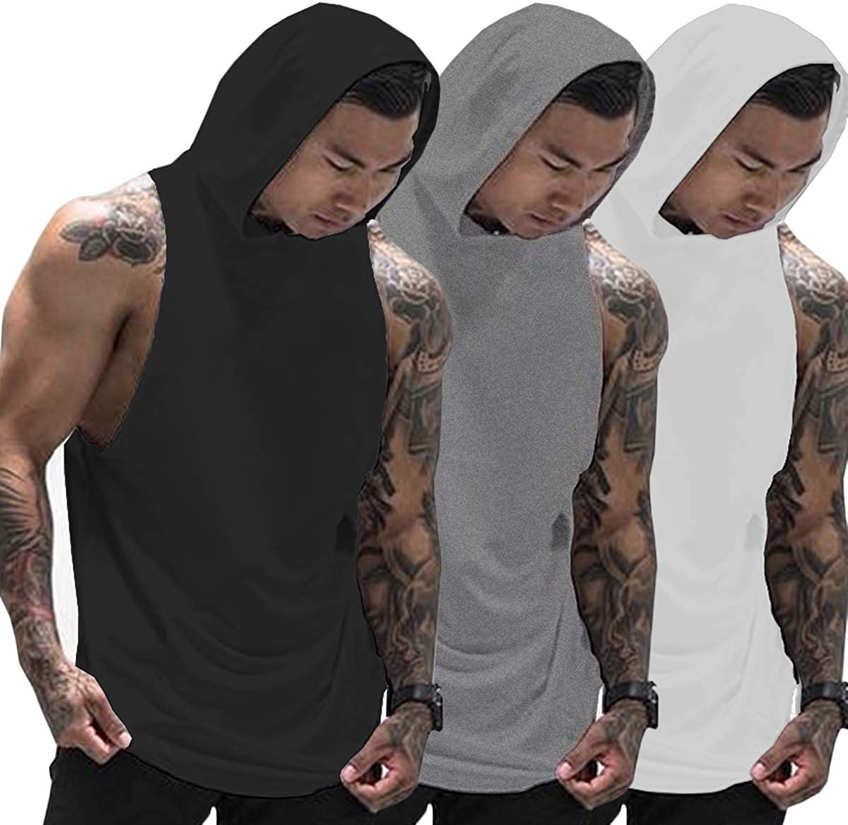 Muscle Killer 3 Pack Men's Workout Hooded Tank Tops Bodybuilding Muscle Cut Off T Shirt Sleeveless Gym Hoodies: Clothing