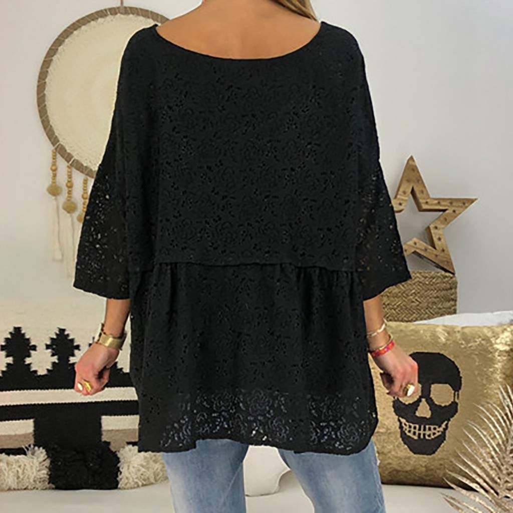 LINYIOU77 Women T-Shirt Summer Casual Short Sleeve Round Neck Lace Hollow Tops Loose T-Shirt Blouse Plus Size