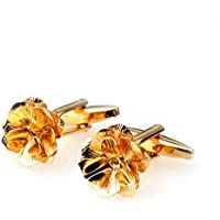 D DOLITY Classic Men's Business Shirt Suit Gold Flower Cufflinks Cuff Links Wedding Party
