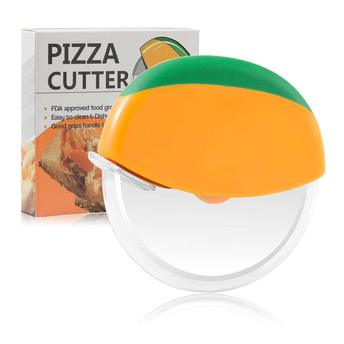 Pizza Cutter Wheel Slicer Food Grade Stainless Steel Pizza Wheels with Protective Plastic Blade Guard Cover 1808