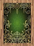 Ambesonne Mandala Area Rug, Arabesque Frame with Lotus Shade Floral Swirls Little Hearts and Dots, Flat Woven Accent Rug for Living Room Bedroom Dining Room, 4 X 5.7 FT, Green Black Pale Yellow