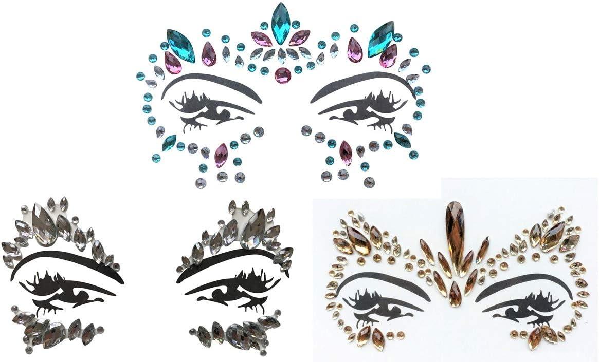 Pegatinas de piedras preciosas y joyas, para cara y cuerpo, maquillaje, para fiestas, festivales y espectáculos, juego de 3 piezas, multicolor