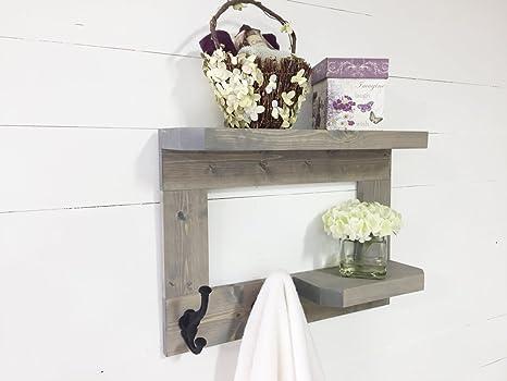 Porta Asciugamani Da Bagno In Legno : Mensola da bagno rustico in legno e porta asciugamani da mountain