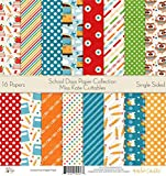 Pattern Paper Pack - School Days - Scrapbook Card Stock Single-Sided 12''x12'' Collection Includes 16 Sheets - by Miss Kate Cuttables