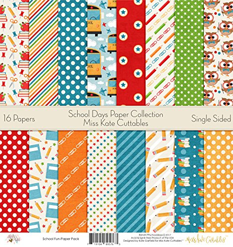 Pattern Paper Pack - School Days - Scrapbook Card Stock Single-Sided 12''x12'' Collection Includes 16 Sheets - by Miss Kate Cuttables by Miss Kate Cuttables