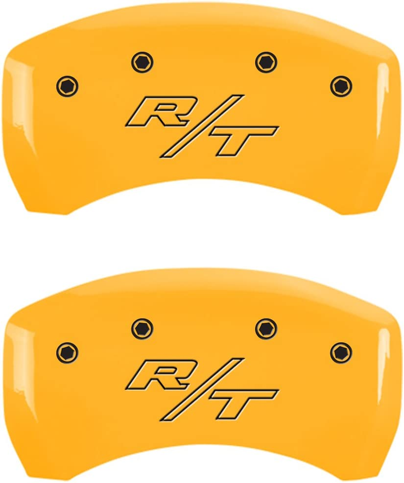 Set of 4, Front: Block//Challenger-Rear: Vintage Style//RT, Yellow Powder Coat Finish, Black Characters MGP Caliper Covers 12162SCBRYL Caliper Cover
