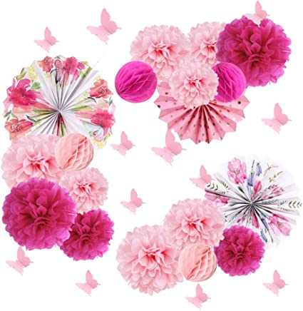 3 x tissue paper pompoms  wall flowers wedding baby shower party decorations