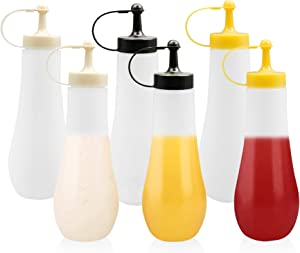 MAXSELL 6 Pack of 24 OZ Plastic Big Squeeze Bottles - Perfect for Sauces,Ketchup, BBQ, Syrup, Condiments, Dressings, Arts and Crafts - BPA-Free, Food-Grade(3 Color)