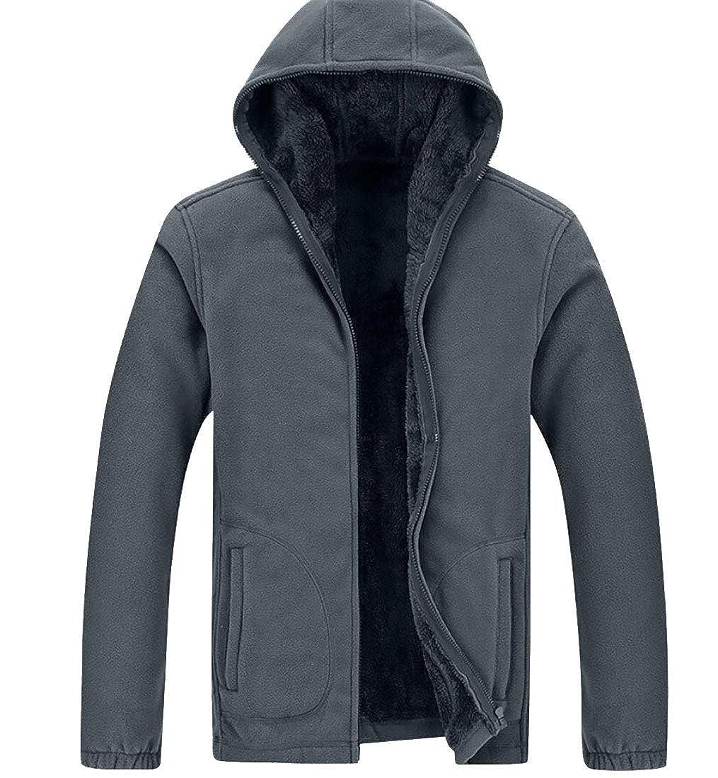 Gocgt Mens Pullover Winter Outwear Sweatshirt Fleece Warm Hooed Hoodies Thicken Outwear