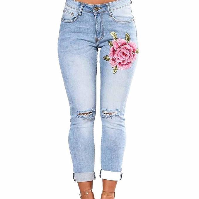 dc4a8c9338bf8b Ankola Leggings Jeans, Womens Skinny Slim Ripped Trousers Embroidered  Elastic Denim Capri Legging (S