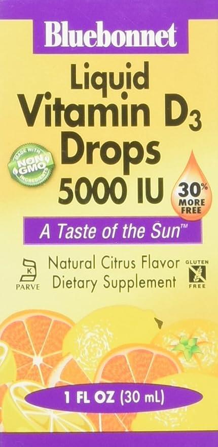 La vitamina D3 líquido gotas, sabor natural a cítricos, 5.000 UI - Bluebonnet Nutrición