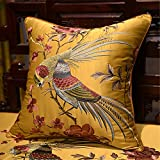 Little Less Pillow Cushion Modern Chinese Embroidery-Including Internal Fill For Sofa Bedside Car Golden 60 X 60cm