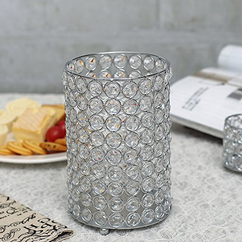 VINCIGANT Silver Crystal Floor Vase Holiday Decorative Candle Holders for Home Decoration/Wedding Centerpieces,Copper Wire String Light Included,7.8 Inches Tall