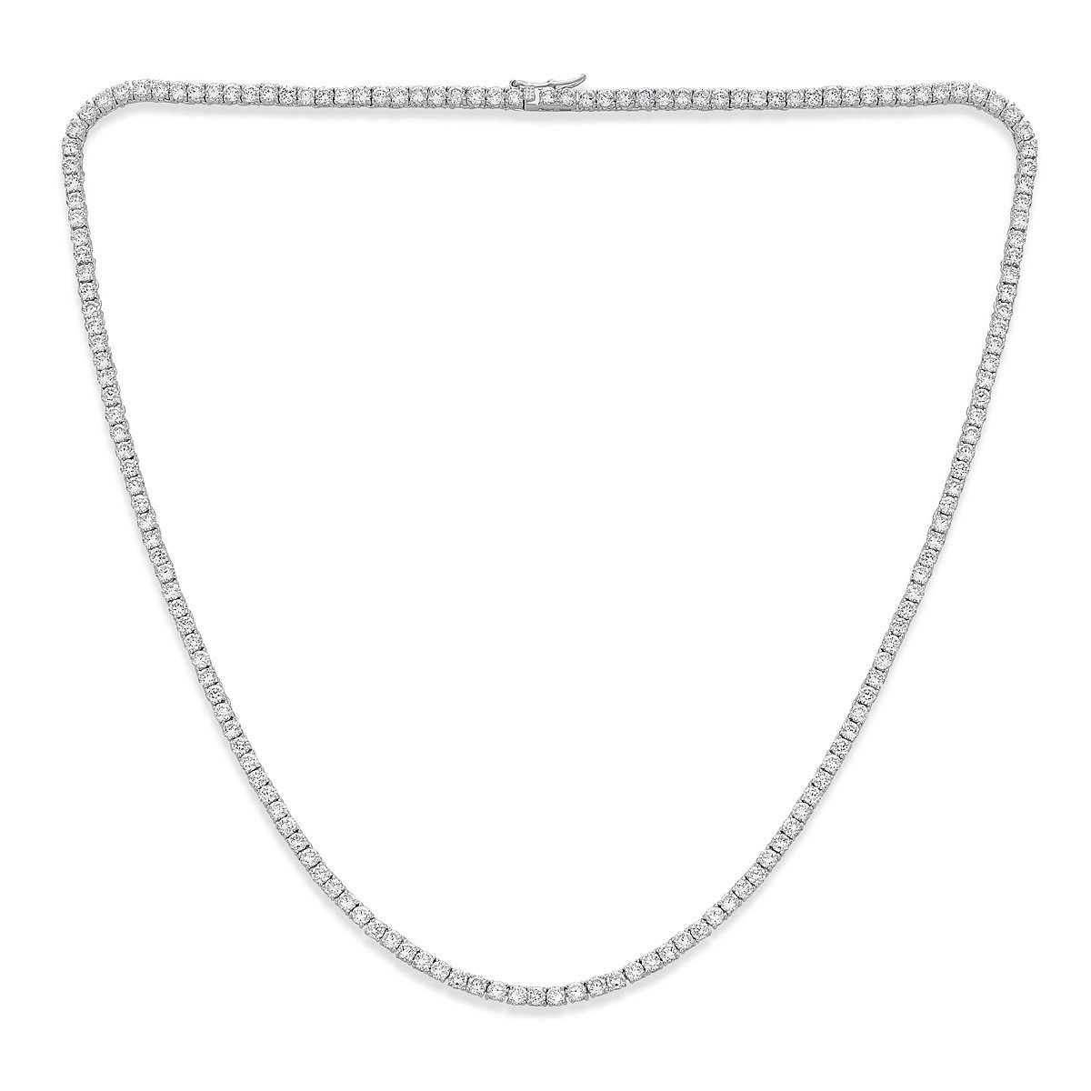 Platinum Plated Sterling Silver Cubic Zirconia Tennis Necklace