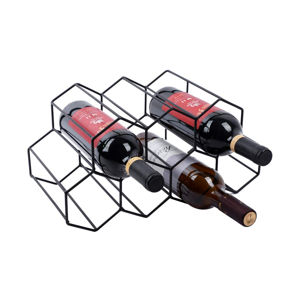 Urban Deco Wine Rack Freestanding Wine Racks Cabinets Bottle Holder Countertop Storage Metal Brushed Gold Geometric Design for Red White Wine (Black Wine Rack)