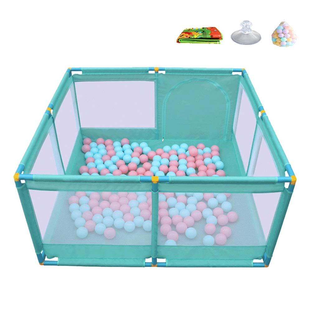 ベビーサークル, ポータブル幼児は200ボールで庭をプレイ、クロールマット付きプラスチック製ベイビープレイペン、非毒性/ノンスリップ、グリーン、66cmの高さ   B07HNDK2TM